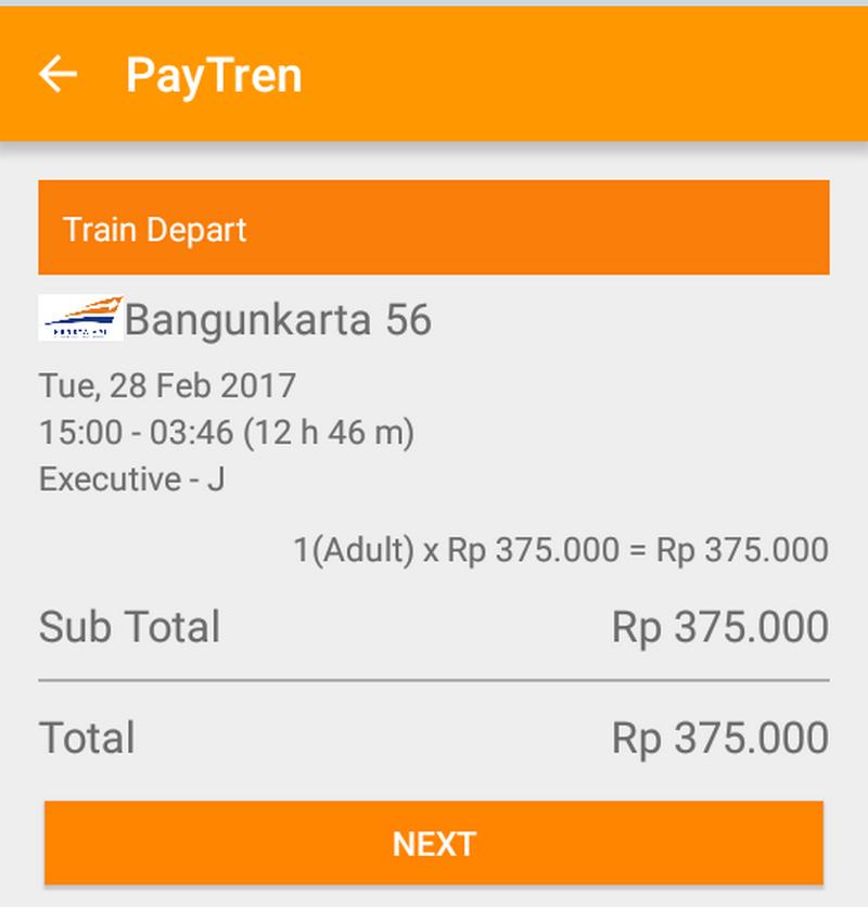 pilih kursi kereta api online di paytren